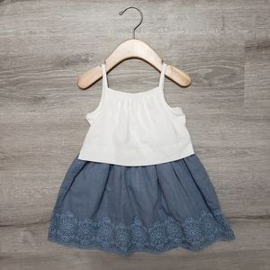 "BABY GAP ""layered"" white and chambray summer dress"